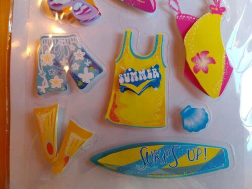 Forever In Time Handmade 3D Glitter Stickers Flip Flops Beach Theme Surfboard