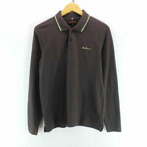 Vintage-Ben-Sherman-Men-039-s-Polo-Shirt-in-Brown-Size-M-Long-Sleeve-Cotton-EF5688