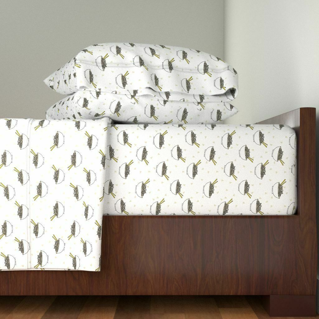 Food Food bianca Food Foodie Kitchen 100% Cotton Sateen Sheet Set by Roostery