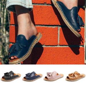 Femmes-Semelles-Platform-Peep-Toe-Clous-Plats-Sandales-Chaussures-Pantoufles