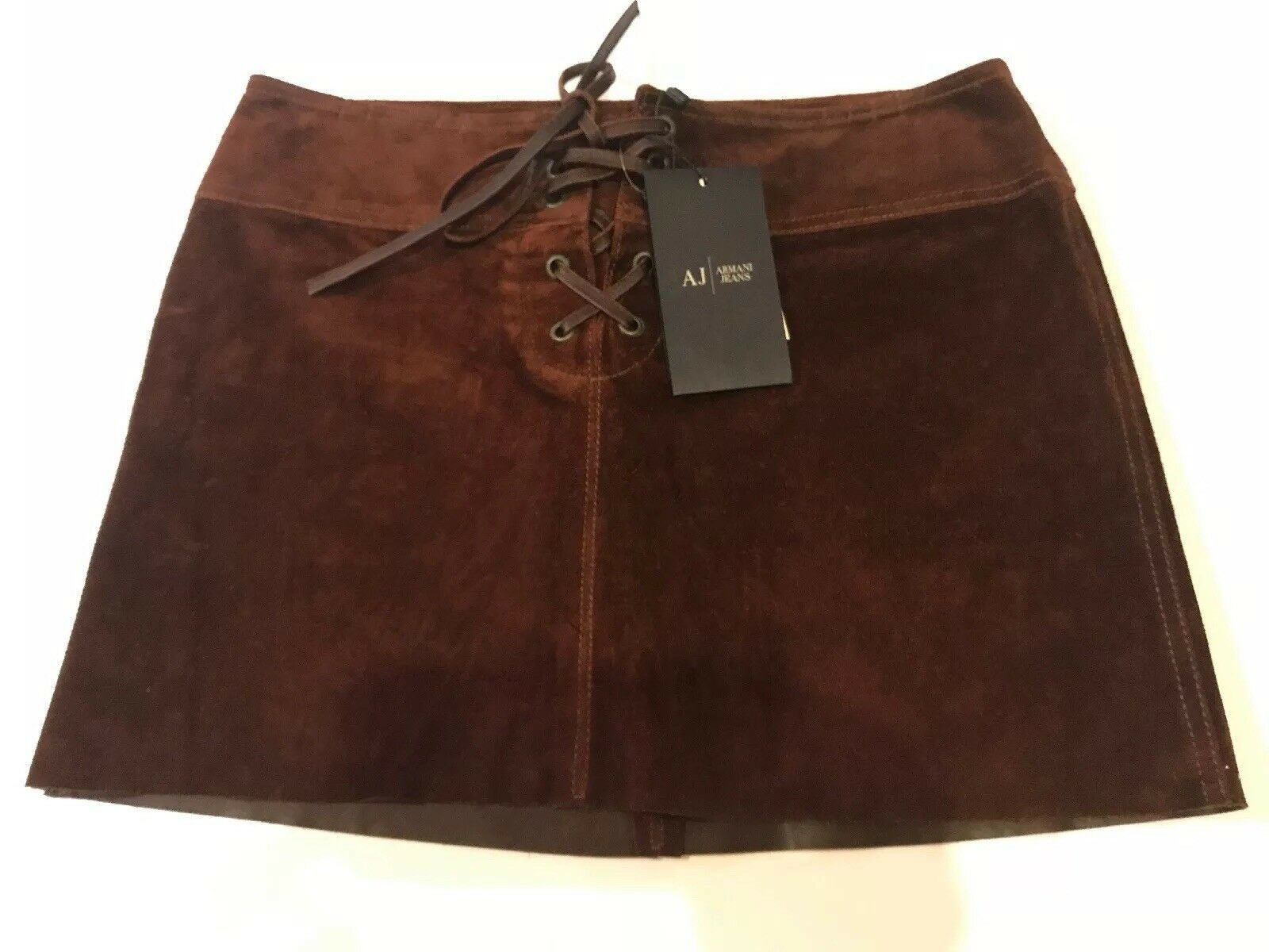 NWT Armani Jeans Sz 40 US 6 Women's Brown Suede 100% Leather Skirt Neiman Marcus