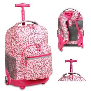 965c956346 Image is loading School-Wheeled-Backpack-Bookbag-Girls-Rolling-Carry-On-