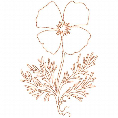 Free Motion California Poppy 10 Machine Embroidery Designs CD in 9 sizes QLI