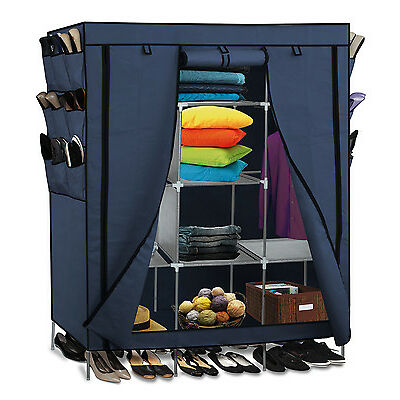 "69"" Portable Closet Storage Organizer Clothes Wardrobe Shoe Rack Shelves, Blue"