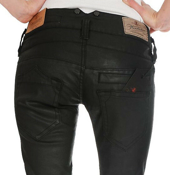Herrlicher Pitch slim Coated Stretch schwarz Damen Hose W24-W32 Neu 119 95