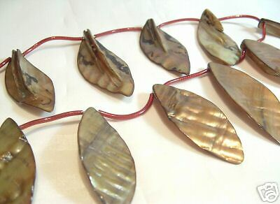 BNSL07 Golden Lime 1 x String x Dyed Shell Leaf Pendants