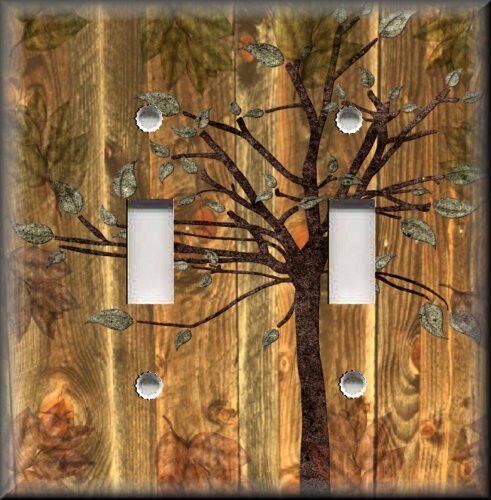 Metal Light Switch Plate Cover Rustic Woods Tree Cabin Home Decor Wallplates
