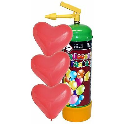 ELIO Balloons Fantasy Helium 0,11m³ Ballongas 1 Liter inkl 12 rote Herzballons