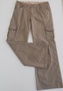 KATHMANDU-Womens-Relaxed-Travel-Cargo-Pants-100-Cotton-Mid-Rise-Taupe-Size-10