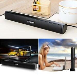 Tragbar-3W-USB-Heimkino-Soundbar-Stereo-Lautsprecher-TV-Computer-fuer-Laptop