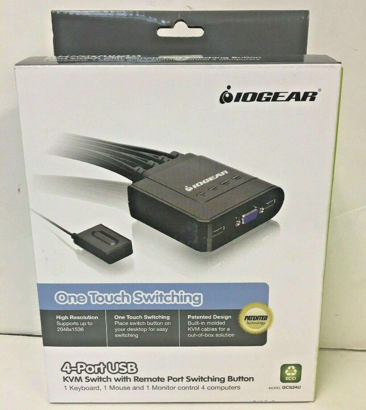 IOGEAR ONE TOUCH SWITCHING 4-PORT USB KVM SWITCH GCS24U