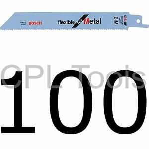 100-Bosch-S922BF-Reciprocating-Sabre-Saw-Blades-150mm-6-034-Flexible-for-METAL