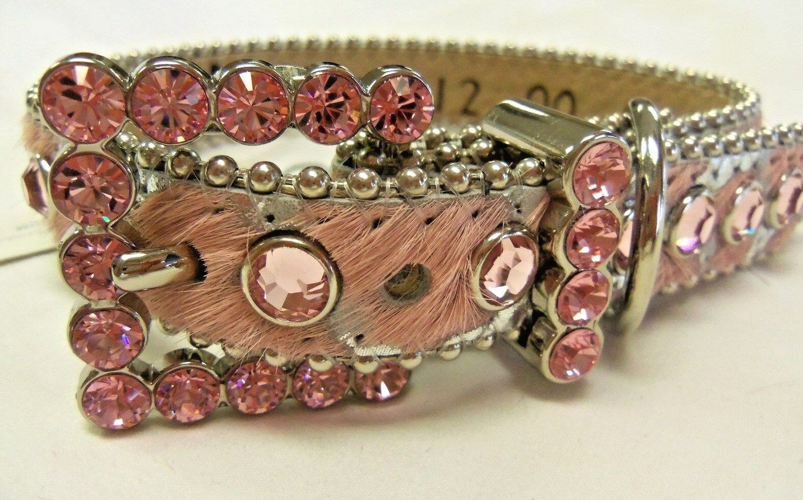 BB SIMON PINK ACID HAIR ON LEATHER DOG COLLAR- PINK SWAROVSKI STONES -X-SMALL