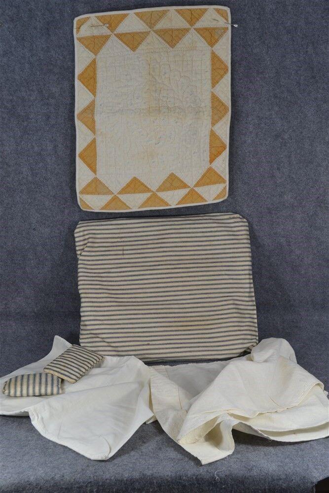 Antique doll quilt ticking mattress pillow sheets hand made original lot 1800s