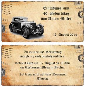 Einladungskarte Zum Geburtstag Oldtimer Vintage Beige 20 30 40 50 60