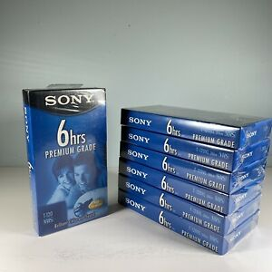 Lot-Of-7-Brand-New-Sealed-SONY-Premium-Grade-6-Hours-T-120-VHS-BLANK-TAPE