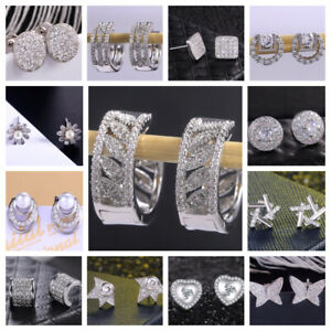 Multiple Styles Women 925 Silver Stud Earring Jewelry Free Shipping A Pair/set