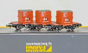 Graham Farish 377-337 , N Gauge, Set of 3 Conflat wagons + Containers weathered