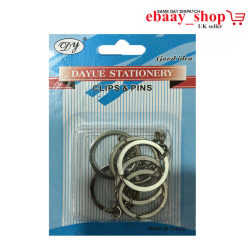 New Key Ring Blanks Silver Tone Key Chains Findings Split Rings 4 Link Chain