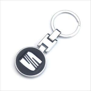 Llavero Seat, logotipo Black, emblema, aleacion de zinc, Llaveros