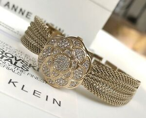 Anne Klein Watch * 1046CHCV Crystal Gold Locket Mesh Bangle for Women COD PayPal