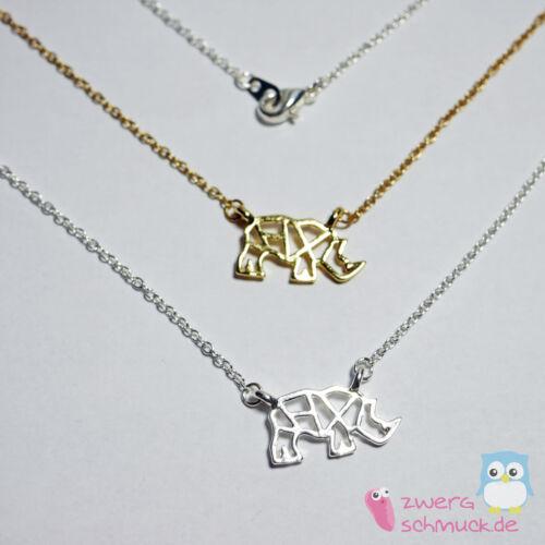 Halskette mit modernem Nashorn Anhänger - gold oder silber