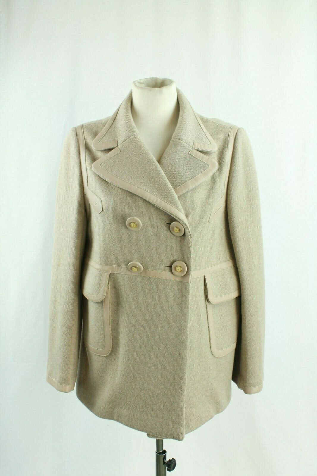 Anya Hindmarch Knitted Beige Peacoat, Size Large.