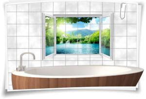 Details Zu Fliesenaufkleber Fliesenbild Fliesen See Wasserfall Insel Deko Aufkleber Bad