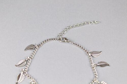 Silver dangly LEAF anklet Leaves adjustable ankle bracelet 8-9.75 inches