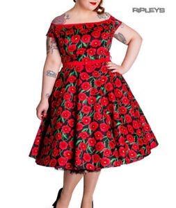 Hell-Bunny-50s-Dress-Pin-Up-CORDELIA-Red-Black-Poppy-Flowers-XXS-Size-6