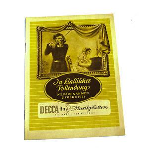 Decca Musikalische Kostbarkeiten Neuaufnahmen 5.folge 1951 Katalog k95 Spezieller Sommer Sale