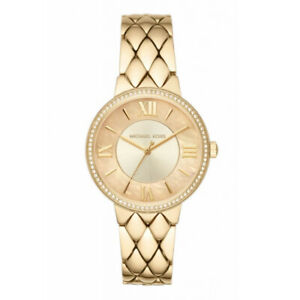 100-New-Michael-Kors-MK3704-Courtney-Pave-Crystal-Gold-Tone-Dial-Woman-039-s-Watch