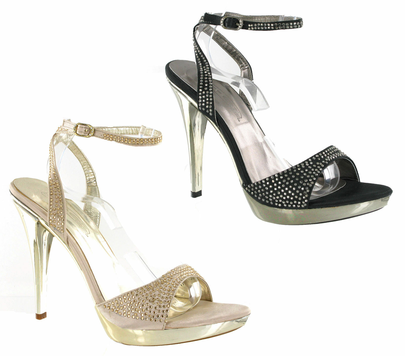 hoch Stiletto Absatz PLATTFORM PARTY STRASS Riemen Damen Schuhe uk3-8