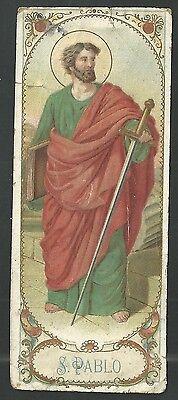 Abundante Estampa Antigua De San Pablo Andachtsbild Santino Holy Card Santini En Muchos Estilos