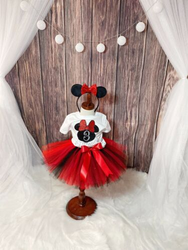 Minnie Mouse Girl Birthday Tutu Outfit 3pcs