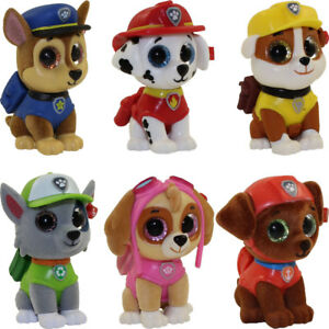 SET OF 6 TY Mini Boos Paw Patrol Figures Chase Skye Rocky Zuma Marshall Rubble