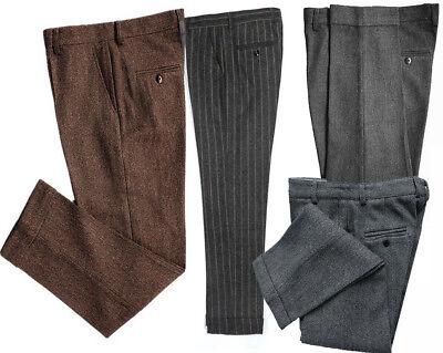 Hot Men Vintage Casual Tweed Wool Dress Pants Work Wedding Herringbone Trousers
