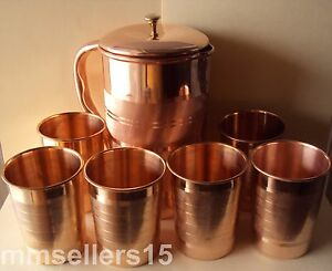Pure Copper Handmade Jug Water Pitcher 1.5 L & 6 Glasses Tumbler 300 ml Storage