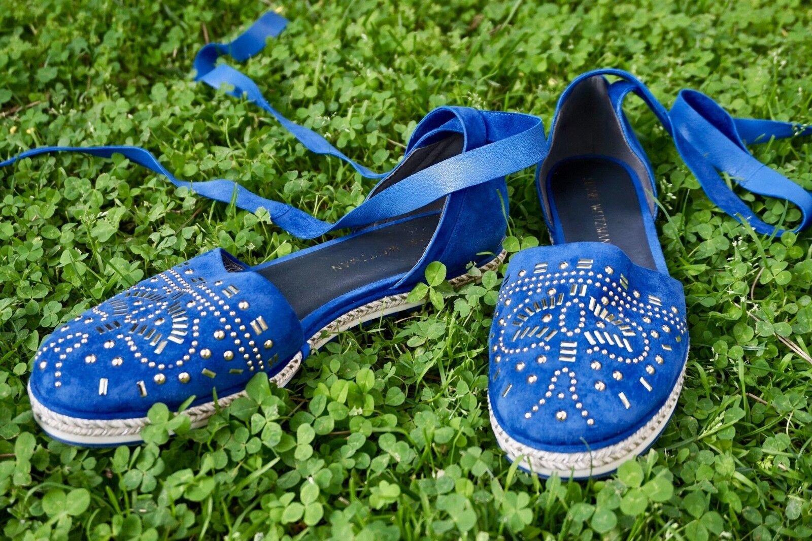 servizio premuroso Stuart Stuart Stuart Weitzman Espadrilles With oro Studs And blu Suede   Designer scarpe   11  risparmia fino al 30-50% di sconto