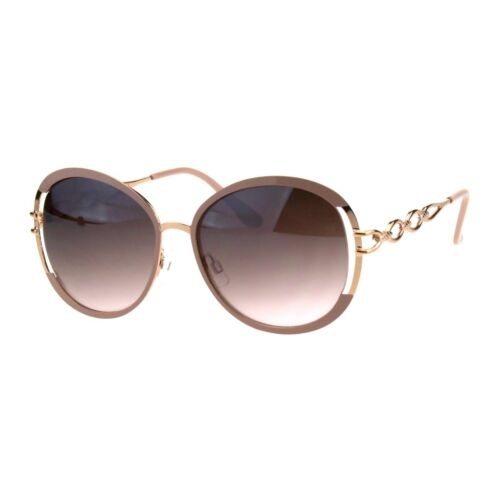 Womens Luxury Metal Chain Arm Round Diva Fashion Butterfly Sunglasses