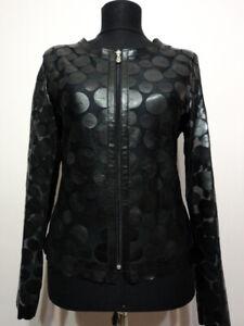 Black Leather Jacket Woman Coat Women Zip Short Light Round Collar All Size D7
