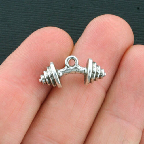 SC3906 BULK 25 Barbell Charms Antique Silver Tone 3D