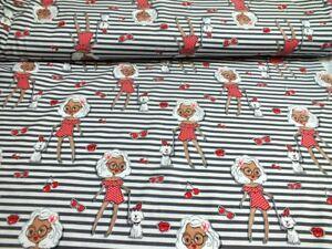 Baumwoll-Jersey-Summer-Girl-Streifen-grau-weiss-von-Julie-Kinderstoff-Kirschen