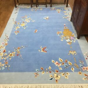 YILONG-6-039-x9-039-Nice-Blue-Hand-knotted-Chinese-Art-Deco-Wool-Rug-Furniture-Carpet