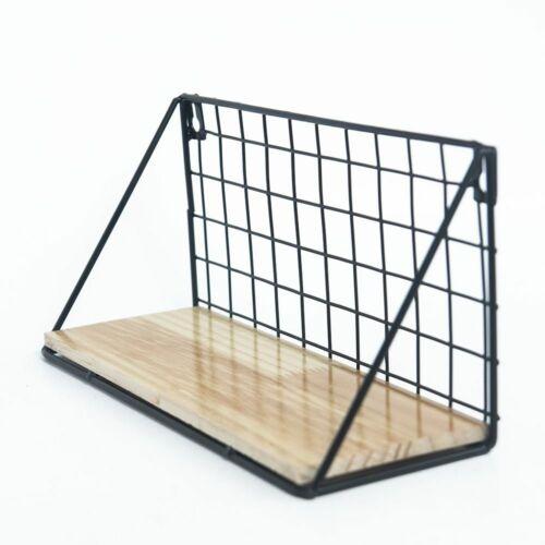 Metal Iron Wooden Storage Wall Shelf Rack Display Organization Home Decor Hot