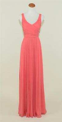 NEW J. CREW $298 SILK CHIFFON LONG HEIDI GOWN 2 BRIGHT CORAL BRIDESMAID  93075