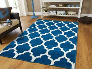 Image Is Loading Trellis Pattern Rugs 8x10 Blue Rug Kitchen Living