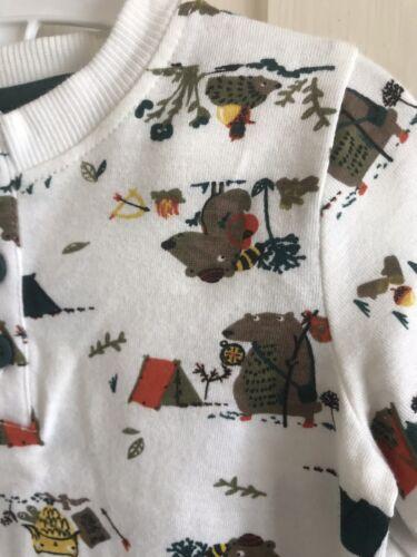BNWOT Nutmeg 3 Pack Long Sleeve Tops Age 0-18 Months Stripe Boys Bear