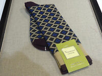 Vanucci Mid Calf Socks Brown Tan Gray Blue Diamond