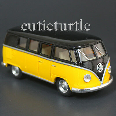 Kinsmart 1962 VW Volkswagen Classic Bus Samba 1:32 Diecast Toy Car Black Blue